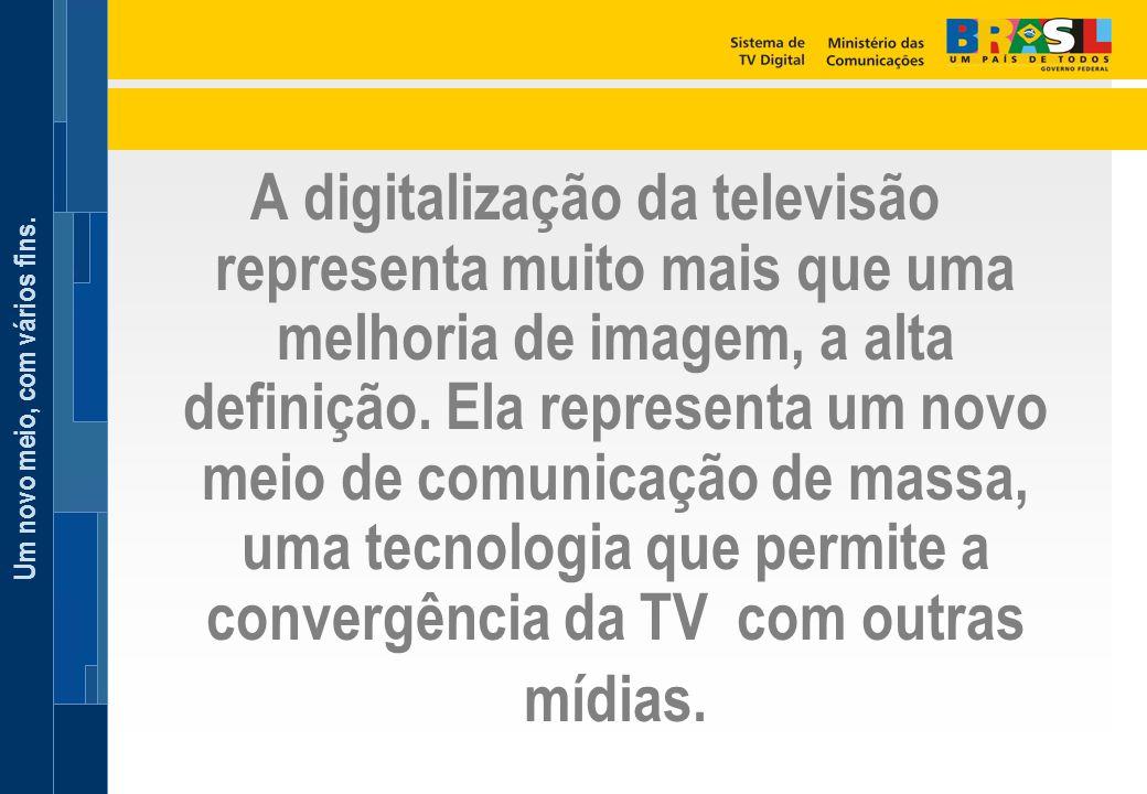 Um novo meio, com vários fins. A digitalização da televisão representa muito mais que uma melhoria de imagem, a alta definição. Ela representa um novo