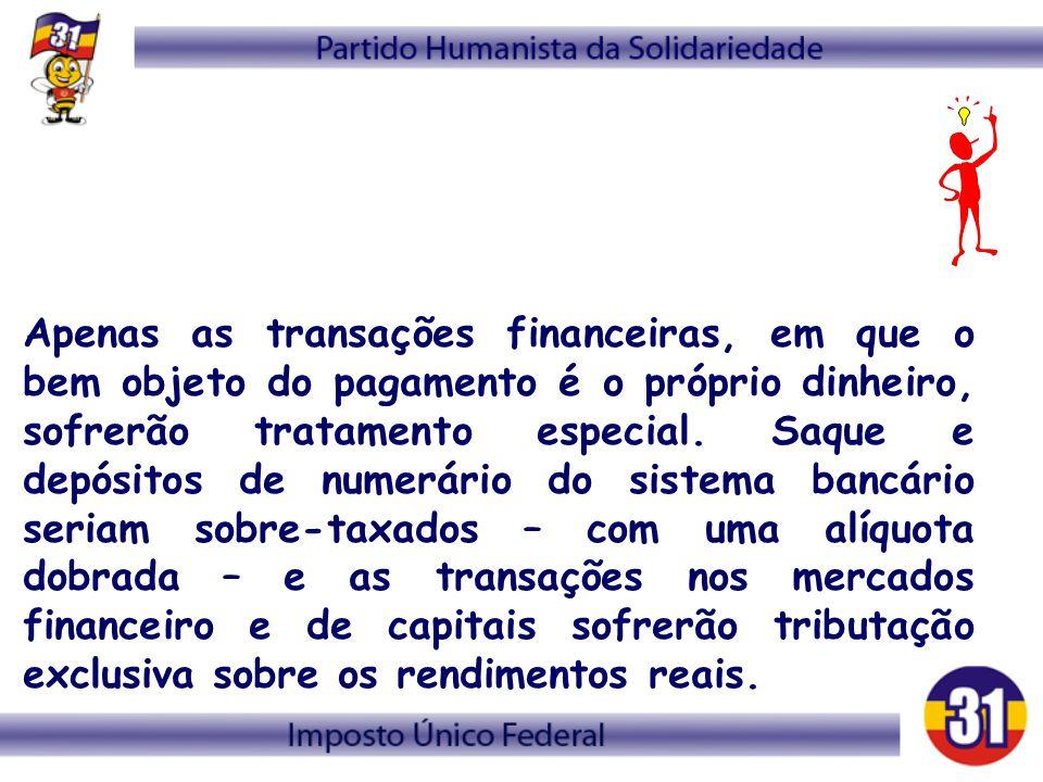 Apenas as transações financeiras, em que o bem objeto do pagamento é o próprio dinheiro, sofrerão tratamento especial. Saque e depósitos de numerário