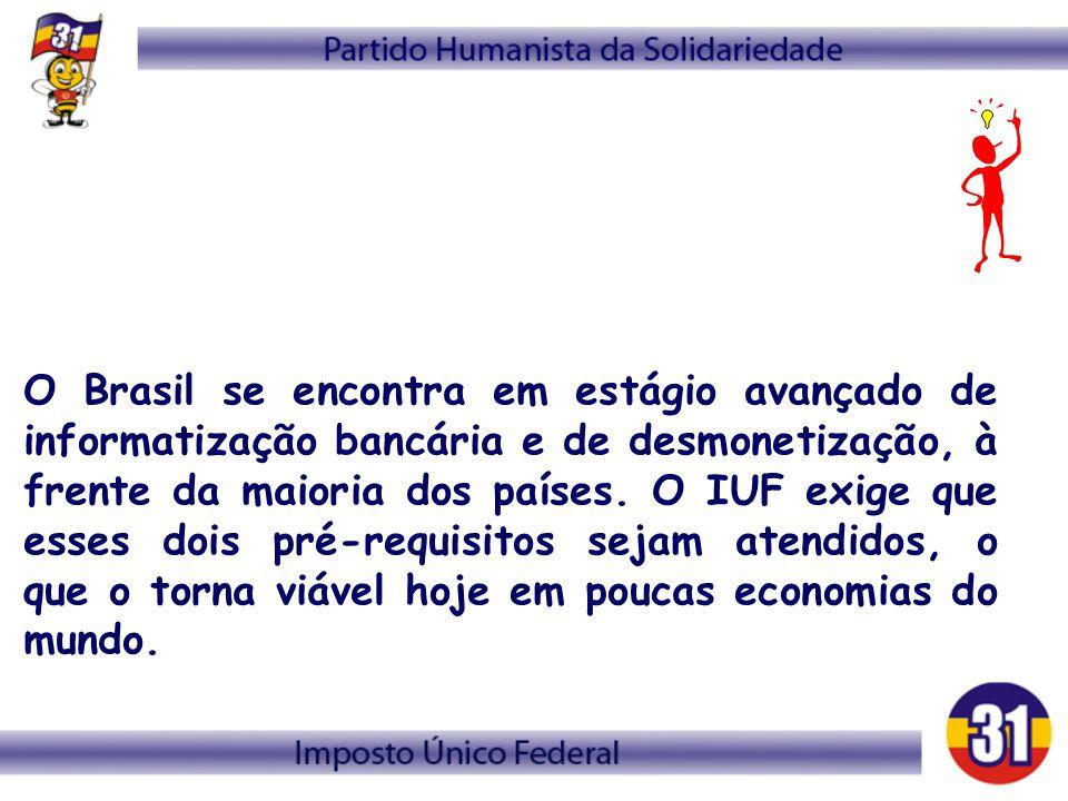 O Brasil se encontra em estágio avançado de informatização bancária e de desmonetização, à frente da maioria dos países. O IUF exige que esses dois pr