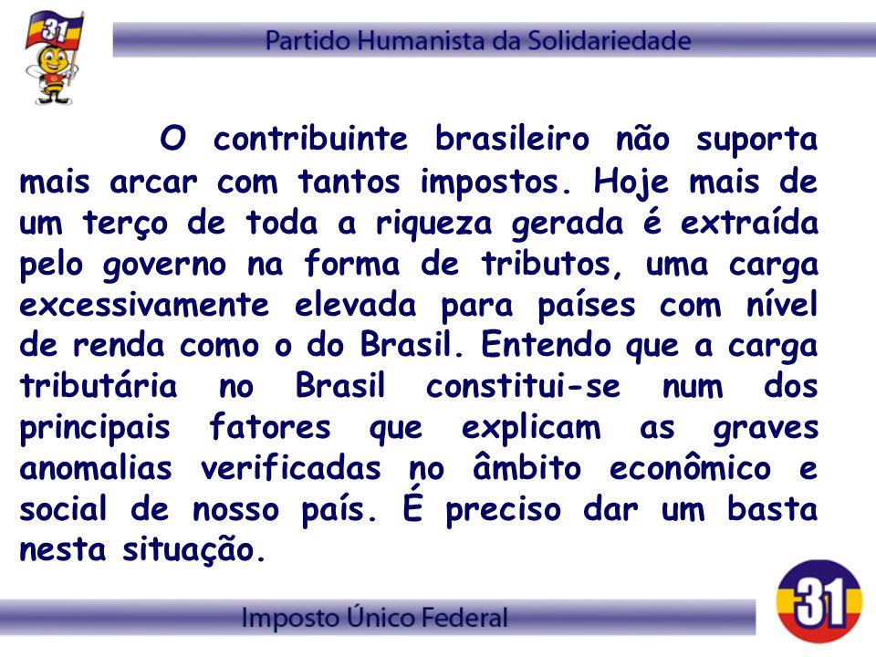 O contribuinte brasileiro não suporta mais arcar com tantos impostos. Hoje mais de um terço de toda a riqueza gerada é extraída pelo governo na forma