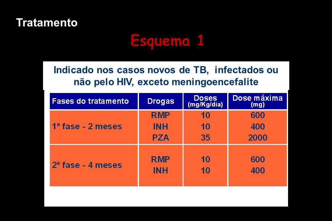 Indicado nos casos novos de TB, infectados ou não pelo HIV, exceto meningoencefalite Esquema 1 Tratamento