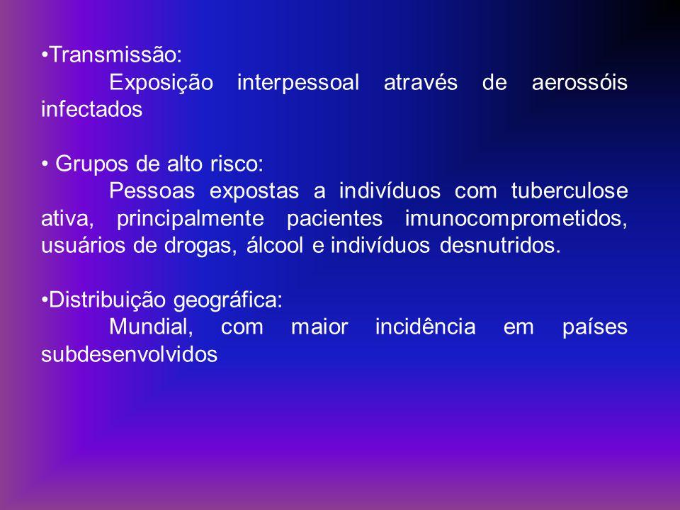 Transmissão: Exposição interpessoal através de aerossóis infectados Grupos de alto risco: Pessoas expostas a indivíduos com tuberculose ativa, princip