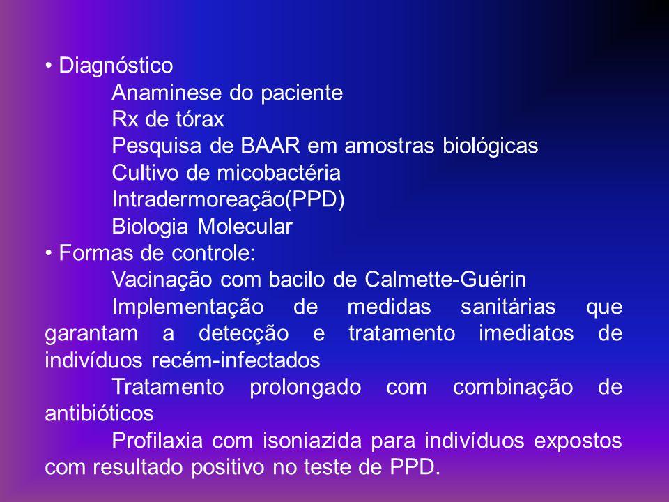 Diagnóstico Anaminese do paciente Rx de tórax Pesquisa de BAAR em amostras biológicas Cultivo de micobactéria Intradermoreação(PPD) Biologia Molecular