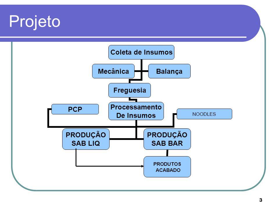 3 Projeto Coleta de Insumos Freguesia Processamento De Insumos PRODUÇÃO SAB LIQ PRODUÇÃO SAB BAR PRODUTOS ACABADO PCP NOODLES MecânicaBalança