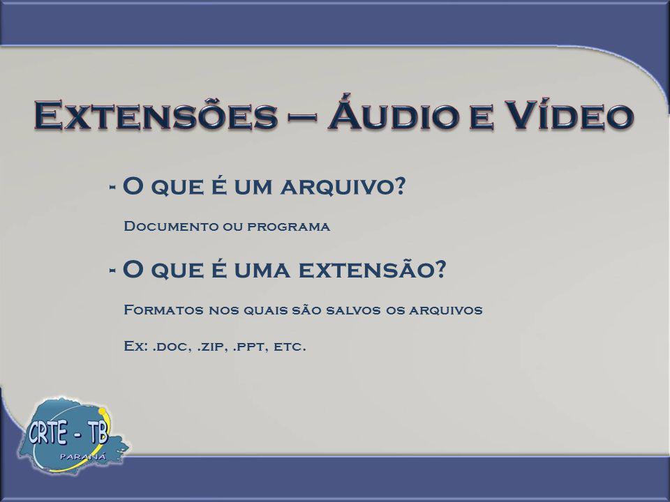 - Extensões de áudio - WAV ou WAVE Forma curta de WAVE form audio format.