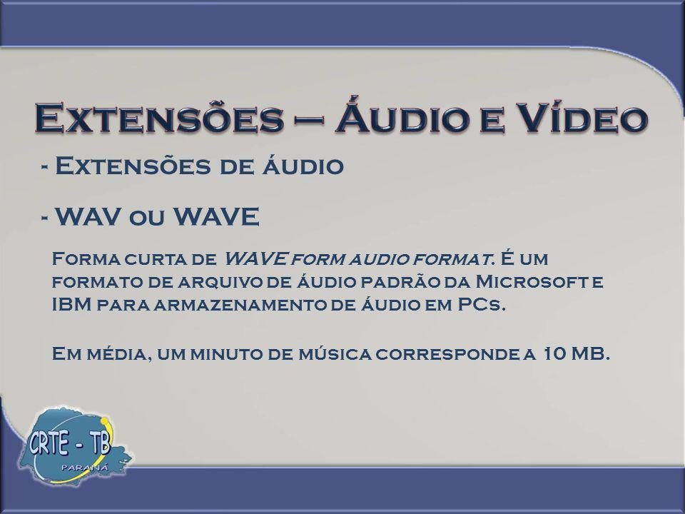 - Extensões de áudio - MP3 É um formato de áudio que roda na maioria dos aparelhos de DVD.