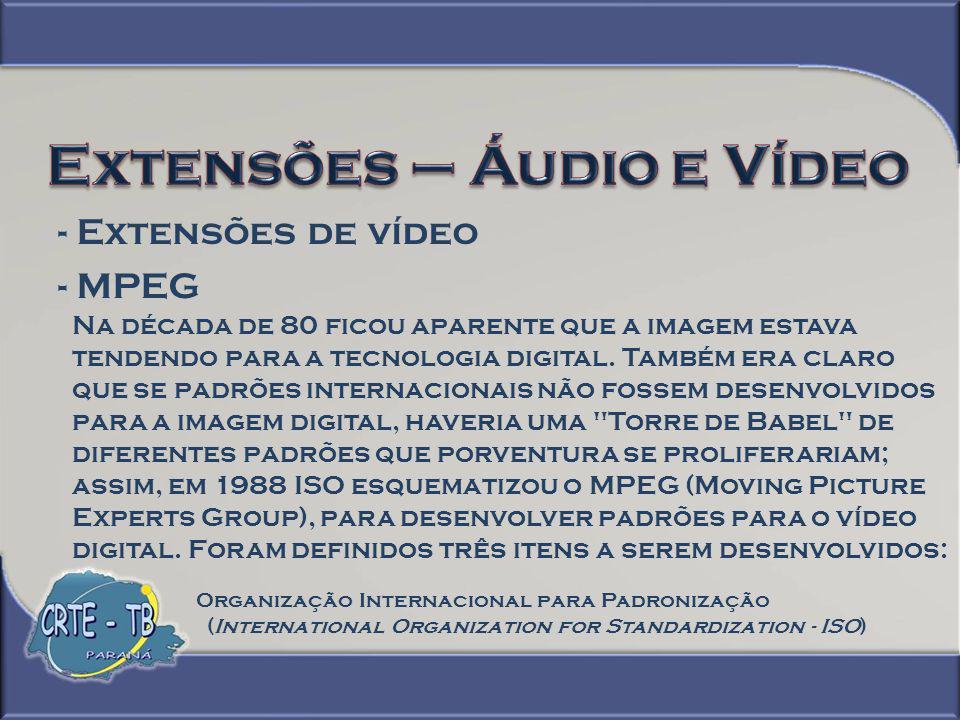 - Extensões de vídeo - MPEG 1 - Video e audio associados a uma taxa de 1.5 Mbps (mais tarde chamado de MPEG-1); orientado como imagem digital armazenada em Mídia de armazenagem digital 2 - Imagens em movimento e audio associados a uma taxa de 10 Mbps (mais tarde chamado de MPEG-2); orientado como broadcast (transmissão) 3 - Imagens em movimento e audio associados a uma taxa de 60 Mbps (MPEG-3); para televisão de alta-definição (mais tarde reduzido para 40 Mbps e então cancelado).