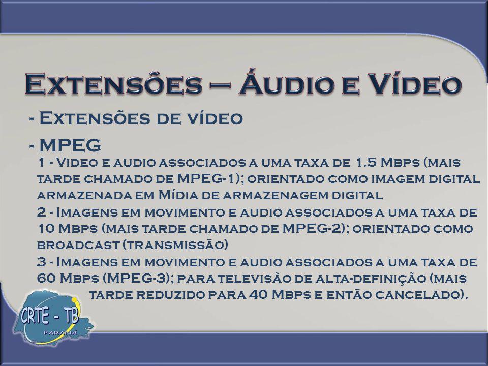 - Extensões de vídeo - VCD - (Vídeo Compact Disc) É um formato que permite reproduzir vídeos a partir de um CD.