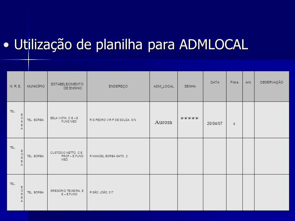 Utilização de planilha para ADMLOCALUtilização de planilha para ADMLOCAL N. R. E.MUNICÍPIO ESTABELECIMENTO DE ENSINO ENDEREÇOADM_LOCALSENHA DATAFibraA