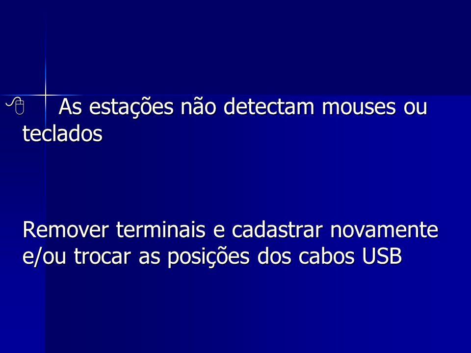 As estações não detectam mouses ou teclados Remover terminais e cadastrar novamente e/ou trocar as posições dos cabos USB Remover terminais e cadast