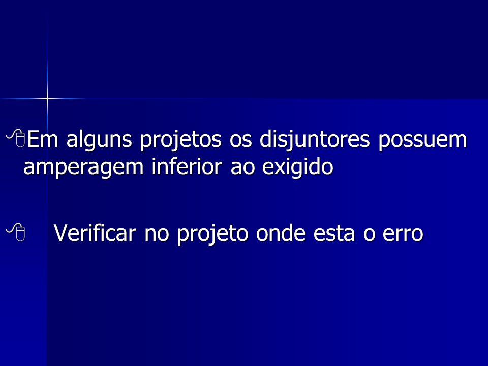  Em alguns projetos os disjuntores possuem amperagem inferior ao exigido  Verificar no projeto onde esta o erro
