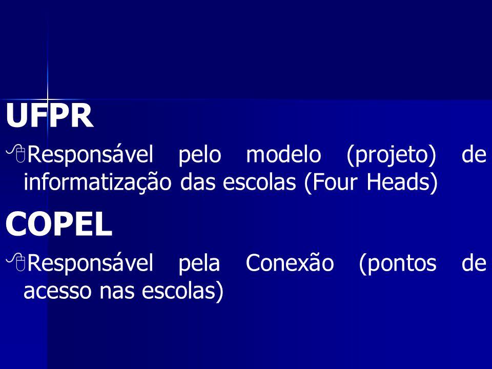 UFPR   Responsável pelo modelo (projeto) de informatização das escolas (Four Heads) COPEL   Responsável pela Conexão (pontos de acesso nas escolas