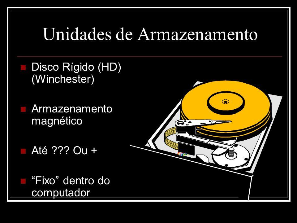 """Unidades de Armazenamento Disco Rígido (HD) (Winchester) Armazenamento magnético Até ??? Ou + """"Fixo"""" dentro do computador"""