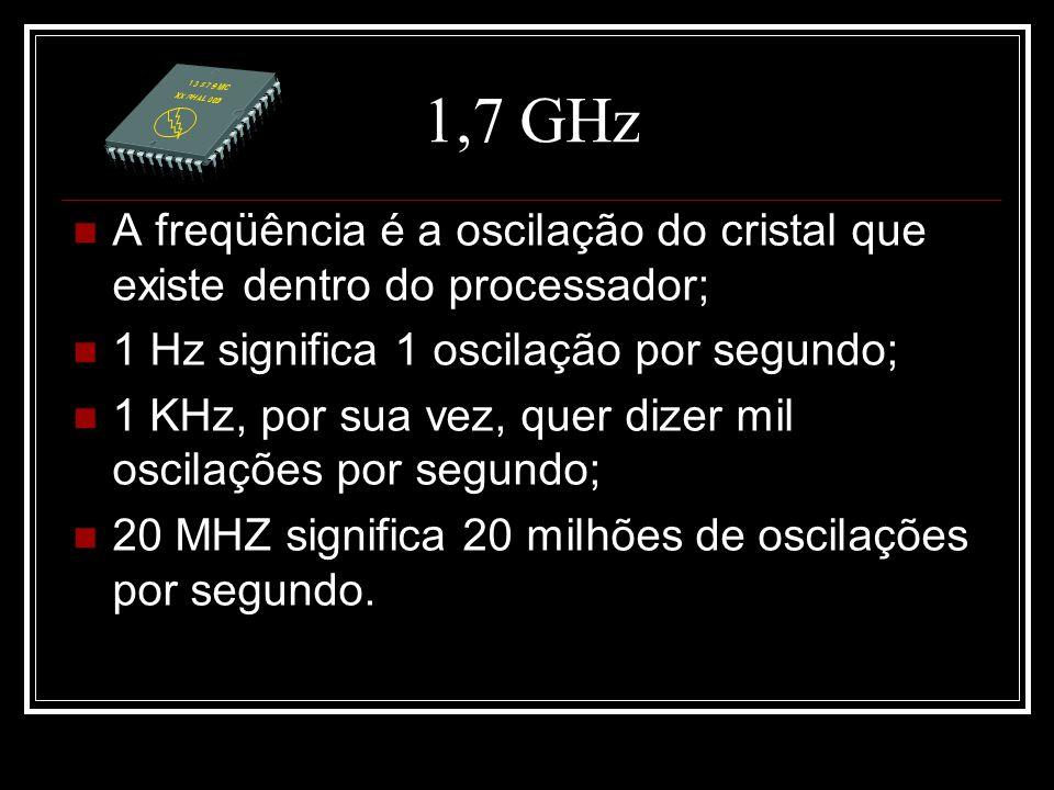 1,7 GHz A freqüência é a oscilação do cristal que existe dentro do processador; 1 Hz significa 1 oscilação por segundo; 1 KHz, por sua vez, quer dizer