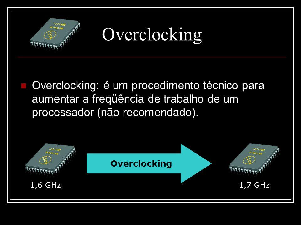 Overclocking Overclocking: é um procedimento técnico para aumentar a freqüência de trabalho de um processador (não recomendado). Overclocking 1,6 GHz1
