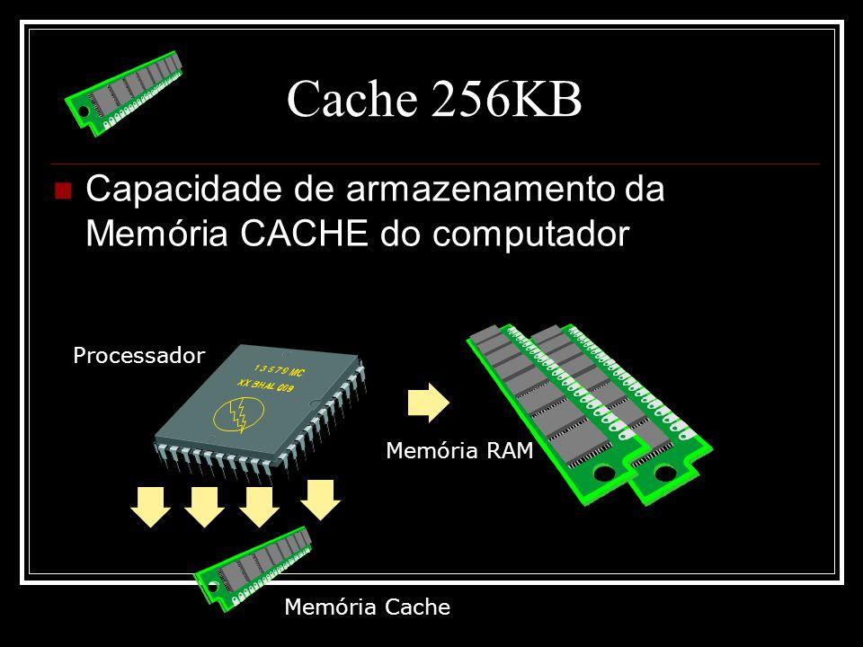 Cache 256KB Capacidade de armazenamento da Memória CACHE do computador Processador Memória RAM Memória Cache
