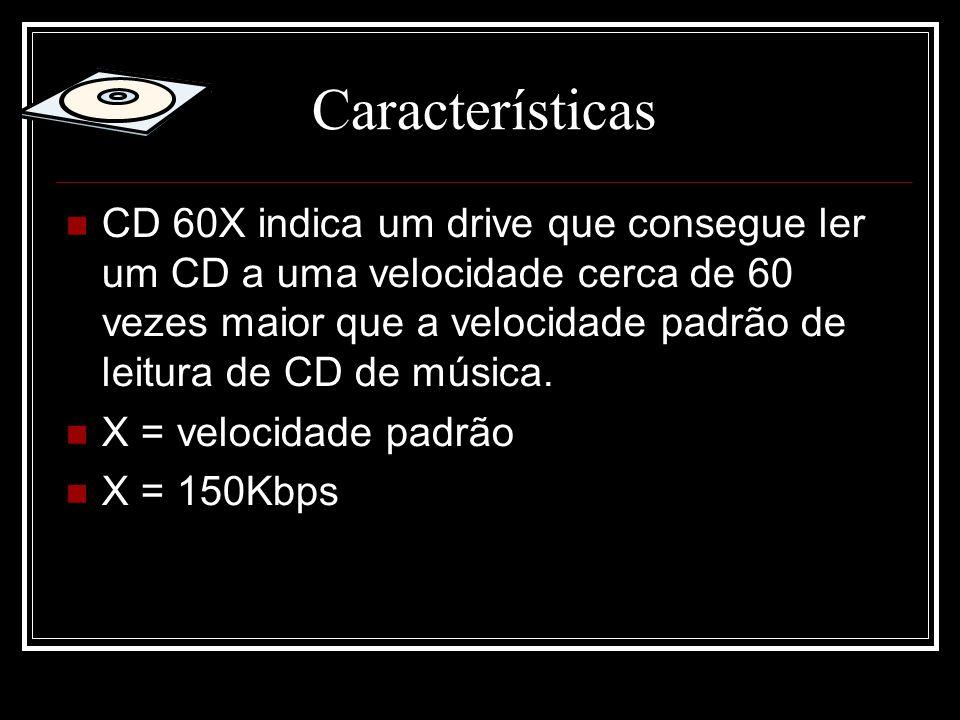 Características CD 60X indica um drive que consegue ler um CD a uma velocidade cerca de 60 vezes maior que a velocidade padrão de leitura de CD de mús