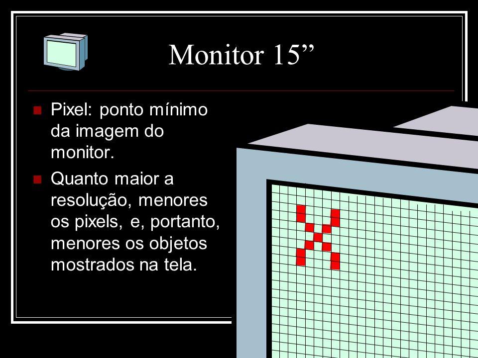 """Monitor 15"""" Pixel: ponto mínimo da imagem do monitor. Quanto maior a resolução, menores os pixels, e, portanto, menores os objetos mostrados na tela."""