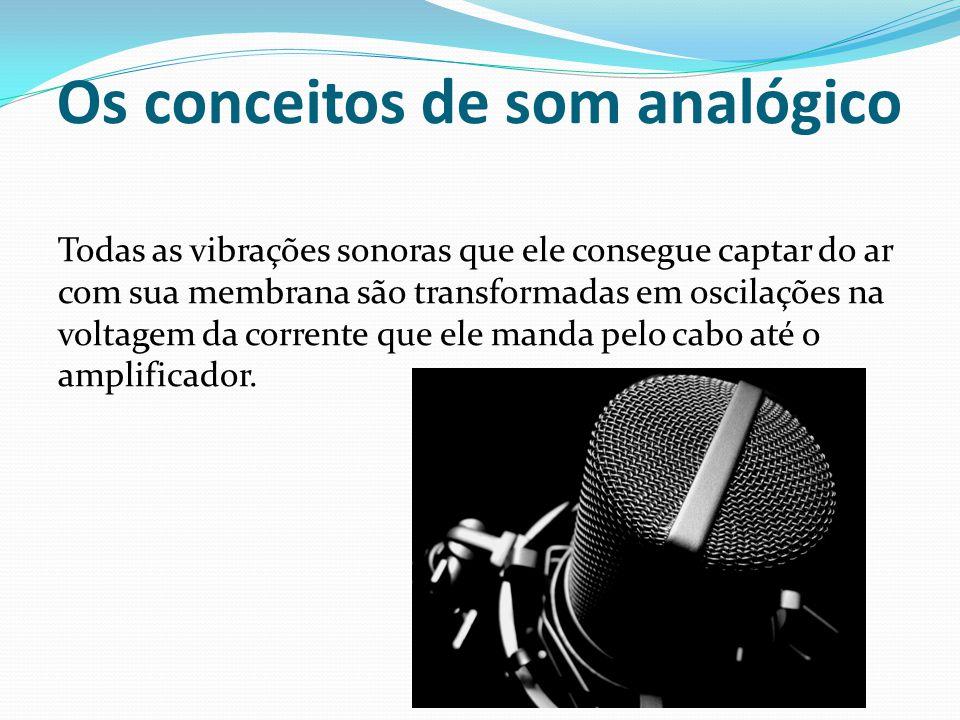 Os conceitos de som analógico Todas as vibrações sonoras que ele consegue captar do ar com sua membrana são transformadas em oscilações na voltagem da
