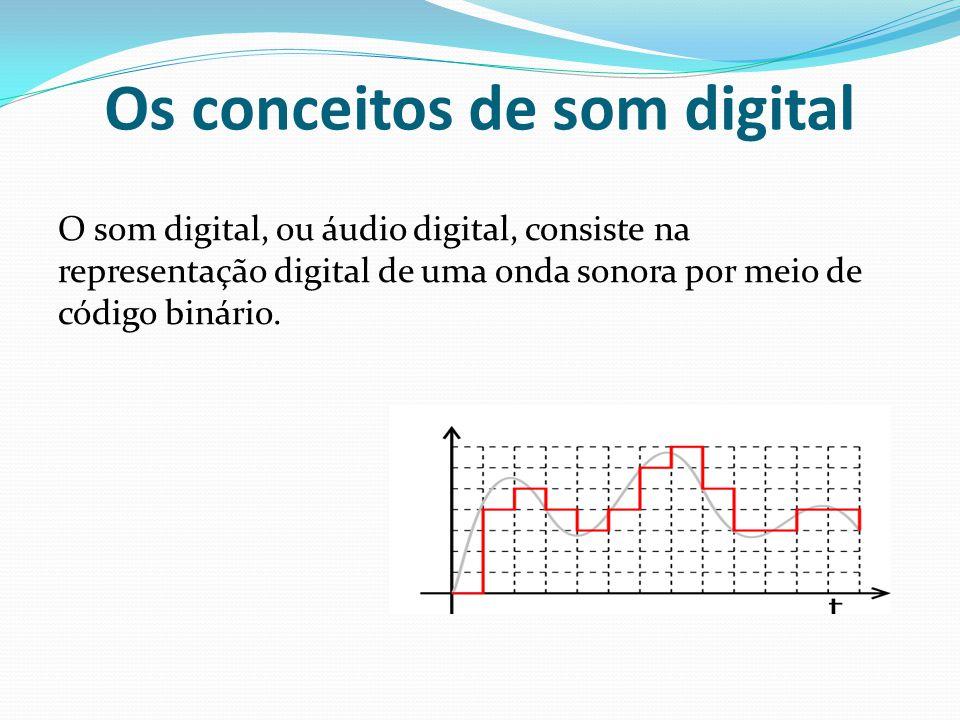 Os conceitos de som digital O som digital, ou áudio digital, consiste na representação digital de uma onda sonora por meio de código binário.