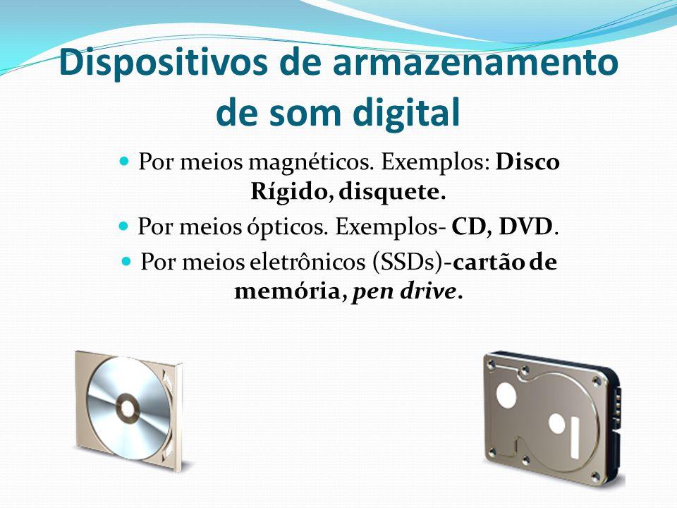 Dispositivos de armazenamento de som digital Por meios magnéticos. Exemplos: Disco Rígido, disquete. Por meios ópticos. Exemplos- CD, DVD. Por meios e