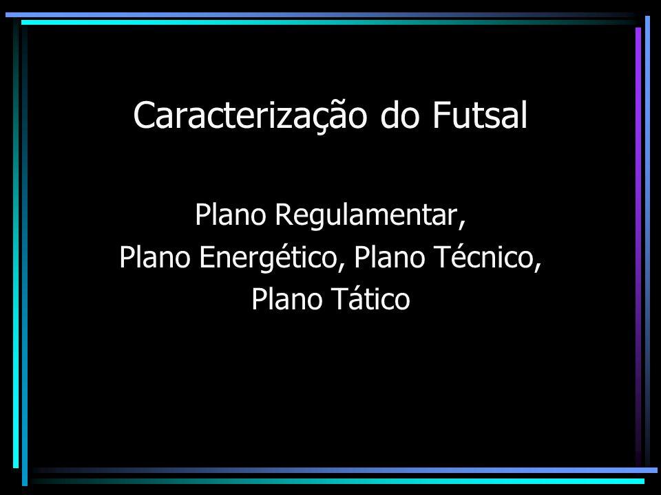Caracterização do Futsal Plano Regulamentar O espaço disponível e de 80m quadrados por atleta, sem qualquer tipo de restrição como acontece no Handebol ( área) ou quadra de vôlei.