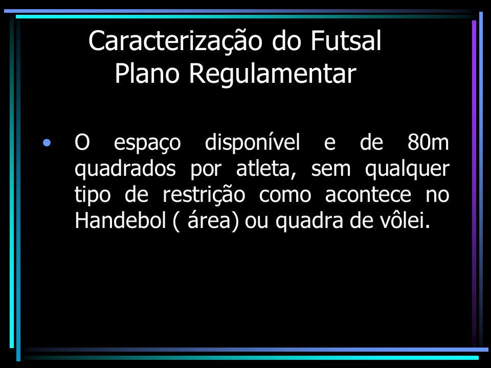 Caracterização do Futsal Plano Regulamentar O espaço disponível e de 80m quadrados por atleta, sem qualquer tipo de restrição como acontece no Handebo