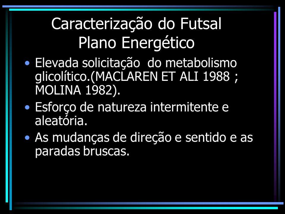 Caracterização do Futsal Plano Energético A possibilidade de se efetuar um número ilimitado de substituições, permite a recuperação de elevados níveis de fadiga, possibilitando o aumento do ritmo de jogo.
