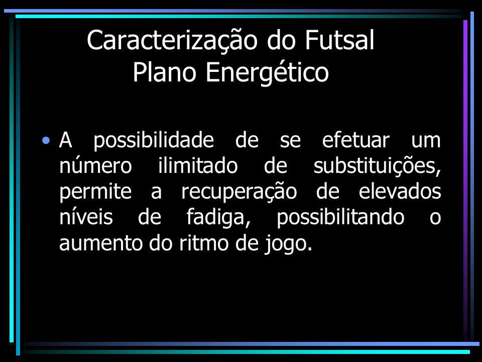 Caracterização do Futsal Plano Energético A possibilidade de se efetuar um número ilimitado de substituições, permite a recuperação de elevados níveis