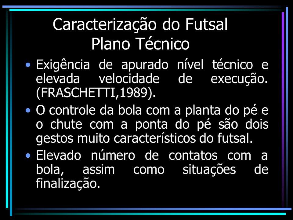 Caracterização do Futsal Plano Técnico Exigência de apurado nível técnico e elevada velocidade de execução. (FRASCHETTI,1989). O controle da bola com