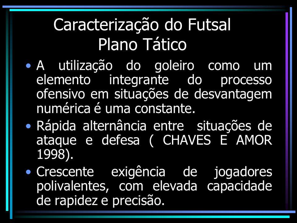 Caracterização do Futsal Plano Tático A utilização do goleiro como um elemento integrante do processo ofensivo em situações de desvantagem numérica é