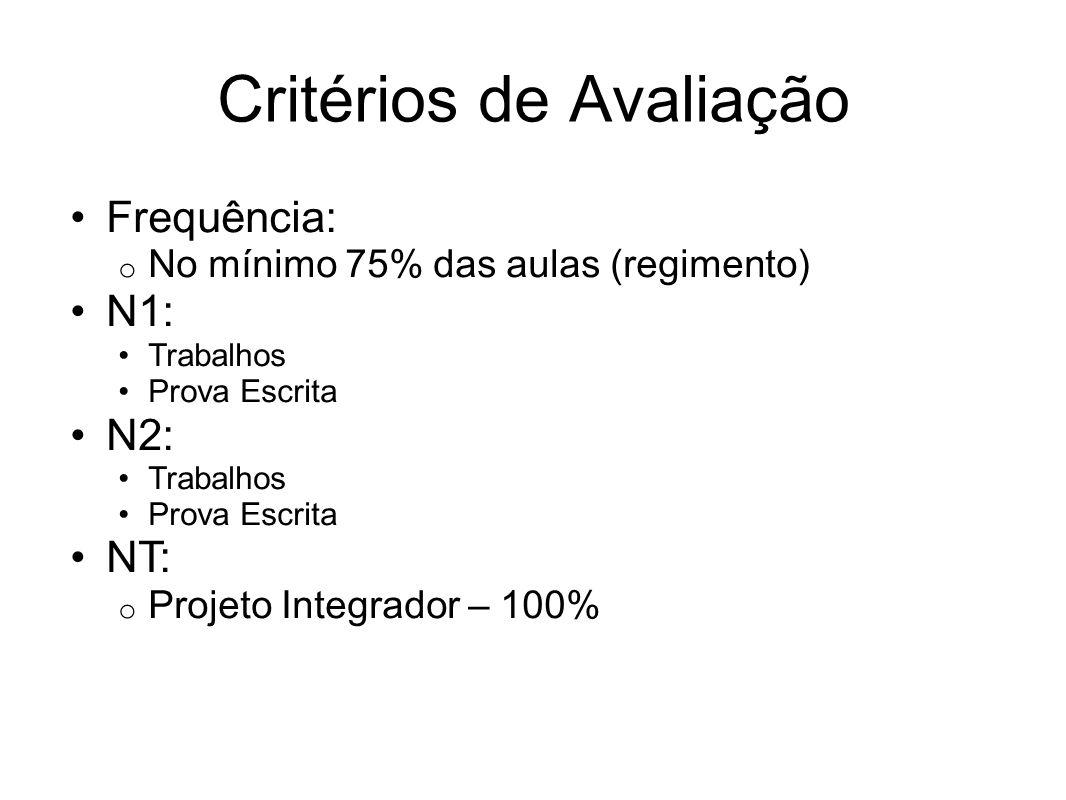 Critérios de Avaliação Frequência: o No mínimo 75% das aulas (regimento) N1: Trabalhos Prova Escrita N2: Trabalhos Prova Escrita NT: o Projeto Integra