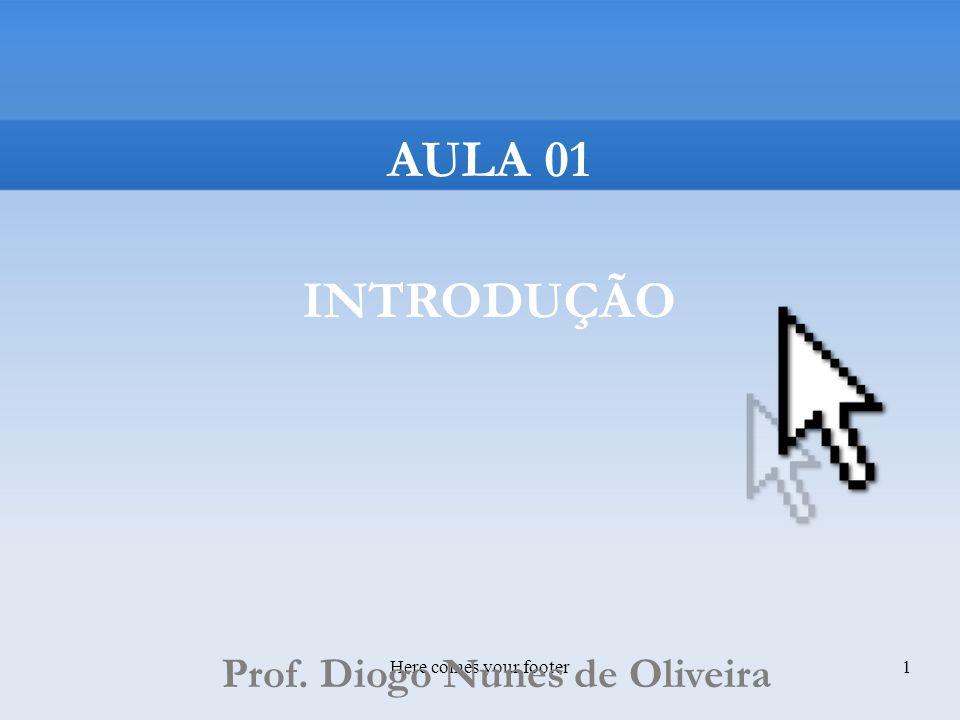 Here comes your footer1 AULA 01 INTRODUÇÃO Prof. Diogo Nunes de Oliveira