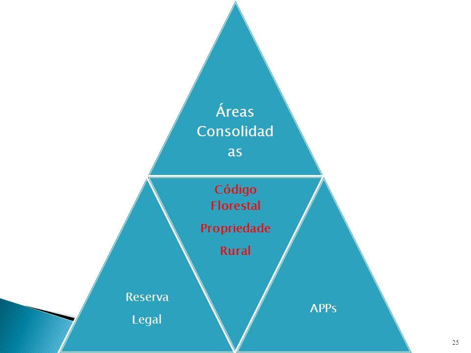 25 Áreas Consolidad as Reserva Legal Código Florestal Propriedade Rural APPs