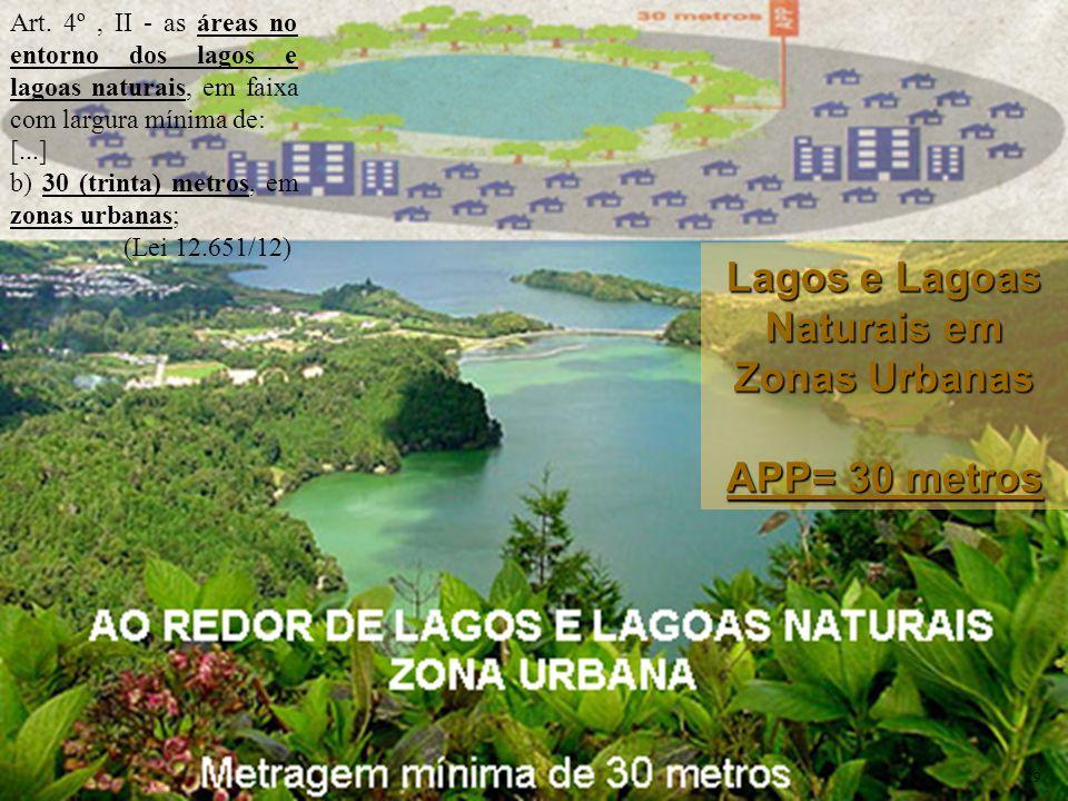 Art. 4º, II - as áreas no entorno dos lagos e lagoas naturais, em faixa com largura mínima de: [...] b) 30 (trinta) metros, em zonas urbanas; (Lei 12.