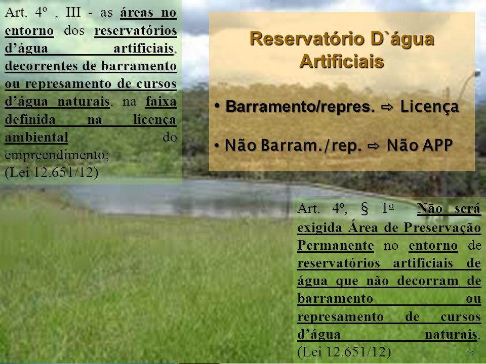 Art. 4º, III - as áreas no entorno dos reservatórios d'água artificiais, decorrentes de barramento ou represamento de cursos d'água naturais, na faixa