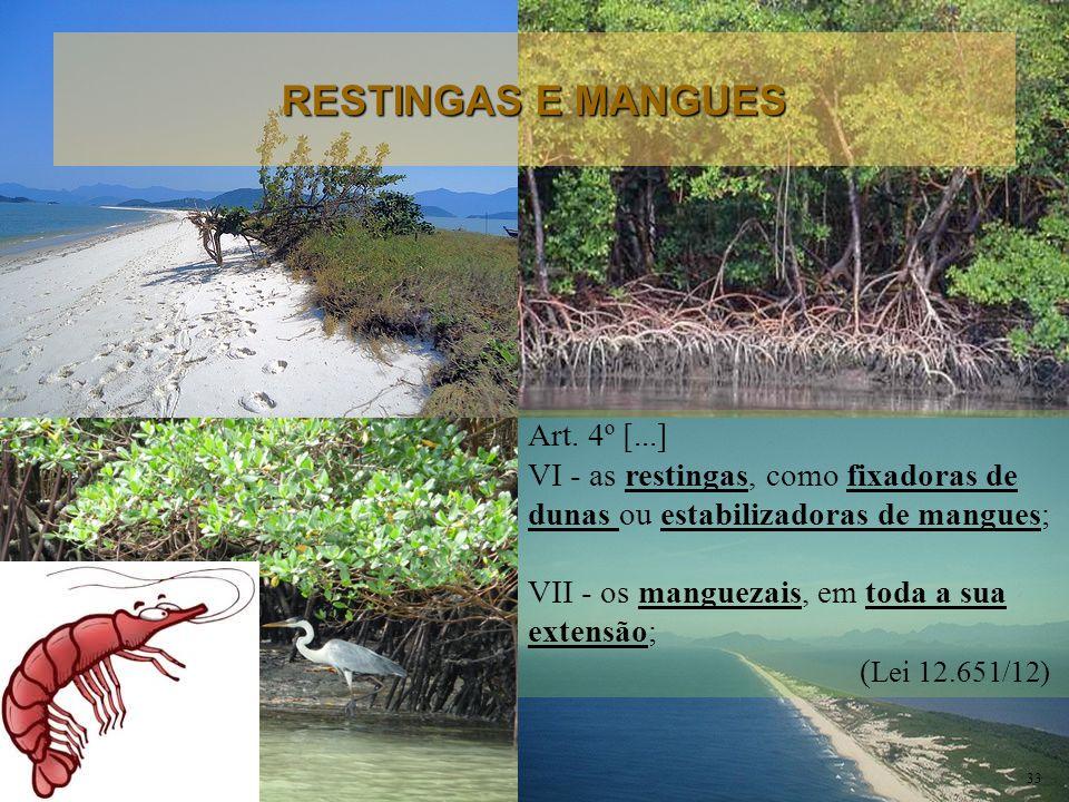 Art. 4º [...] VI - as restingas, como fixadoras de dunas ou estabilizadoras de mangues; VII - os manguezais, em toda a sua extensão; ( Lei 12.651/12)