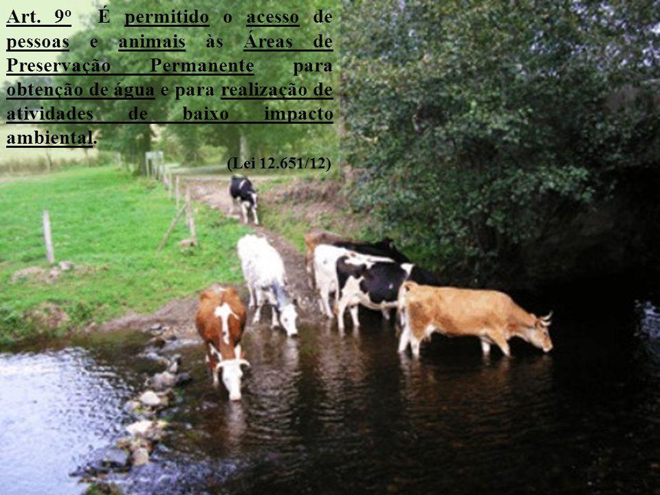 Art. 9 o É permitido o acesso de pessoas e animais às Áreas de Preservação Permanente para obtenção de água e para realização de atividades de baixo i