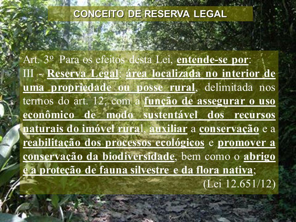 Art. 3 o Para os efeitos desta Lei, entende-se por: III - Reserva Legal: área localizada no interior de uma propriedade ou posse rural, delimitada nos