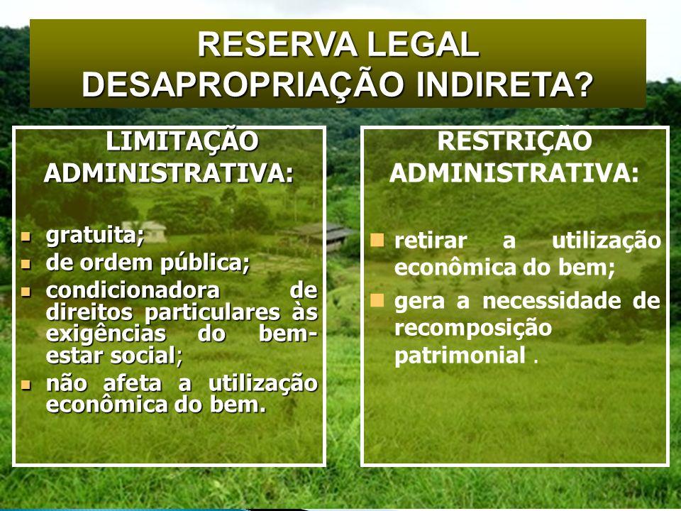 RESERVA LEGAL DESAPROPRIAÇÃO INDIRETA.