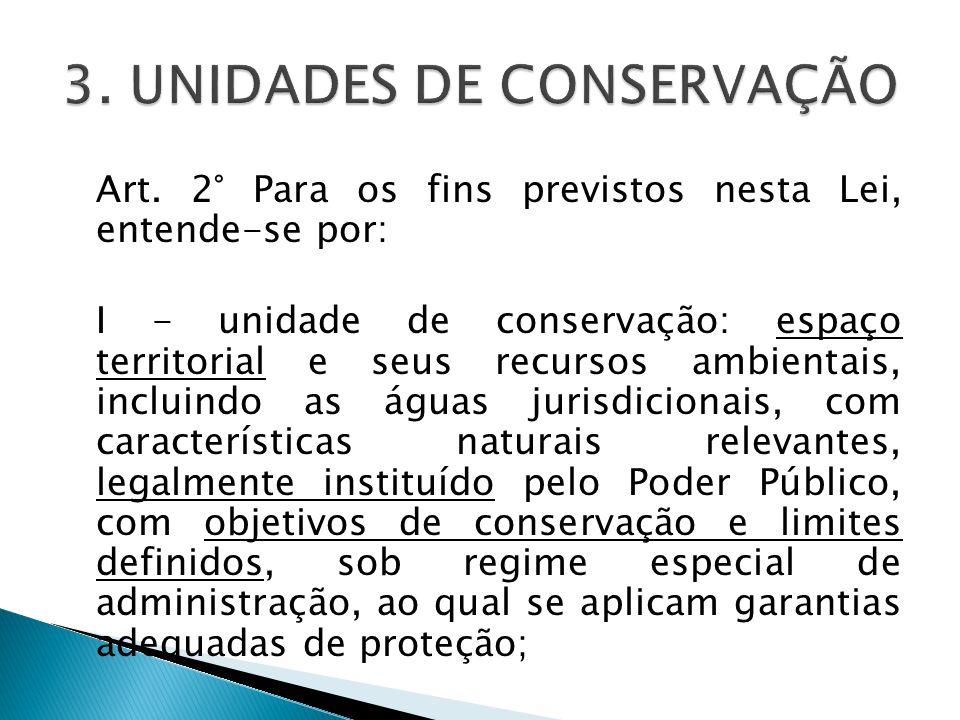 Art. 2° Para os fins previstos nesta Lei, entende-se por: I - unidade de conservação: espaço territorial e seus recursos ambientais, incluindo as água