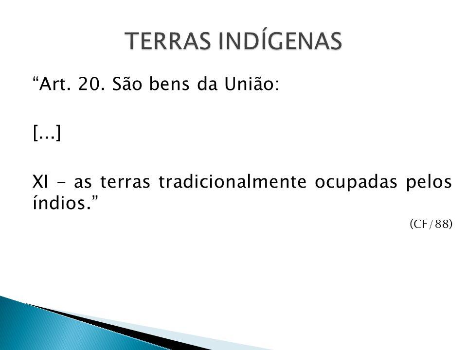 Art. 20. São bens da União: [...] XI - as terras tradicionalmente ocupadas pelos índios. (CF/88)
