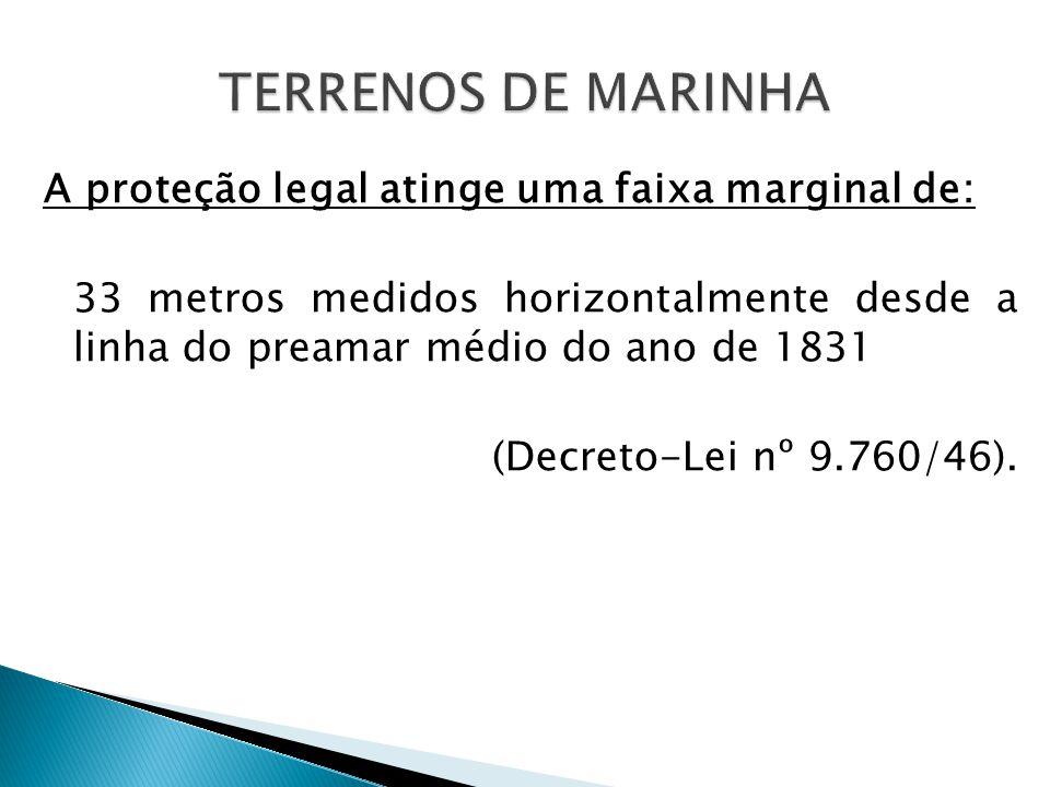 A proteção legal atinge uma faixa marginal de: 33 metros medidos horizontalmente desde a linha do preamar médio do ano de 1831 (Decreto-Lei nº 9.760/46).