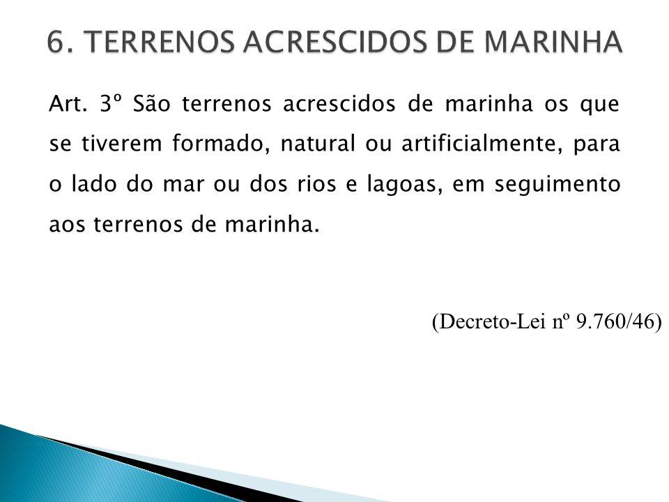 Art. 3º São terrenos acrescidos de marinha os que se tiverem formado, natural ou artificialmente, para o lado do mar ou dos rios e lagoas, em seguimen