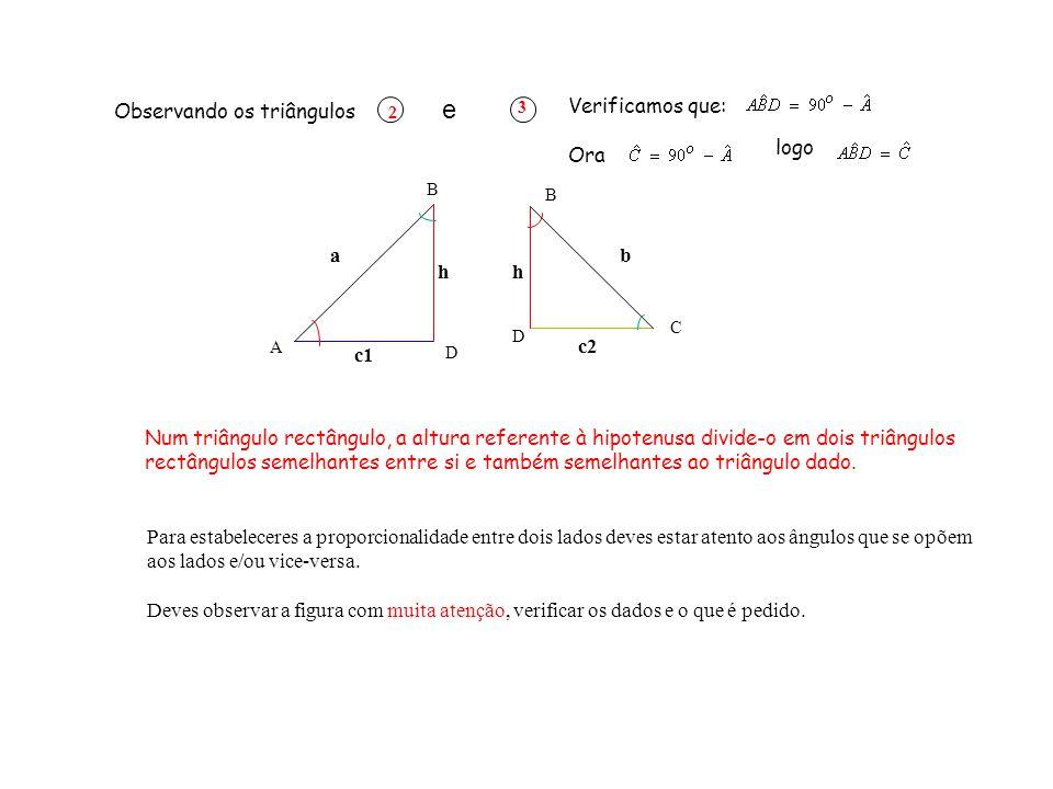 TREINO ORIENTADO Deve sempre iniciar o problema pelo desmembramento do triângulo apresentado.