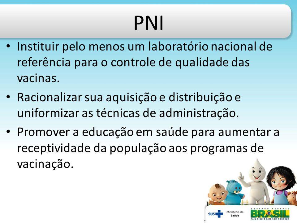 PNI Instituir pelo menos um laboratório nacional de referência para o controle de qualidade das vacinas. Racionalizar sua aquisição e distribuição e u