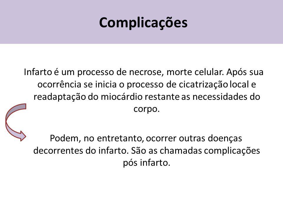 Complicações Infarto é um processo de necrose, morte celular. Após sua ocorrência se inicia o processo de cicatrização local e readaptação do miocárdi