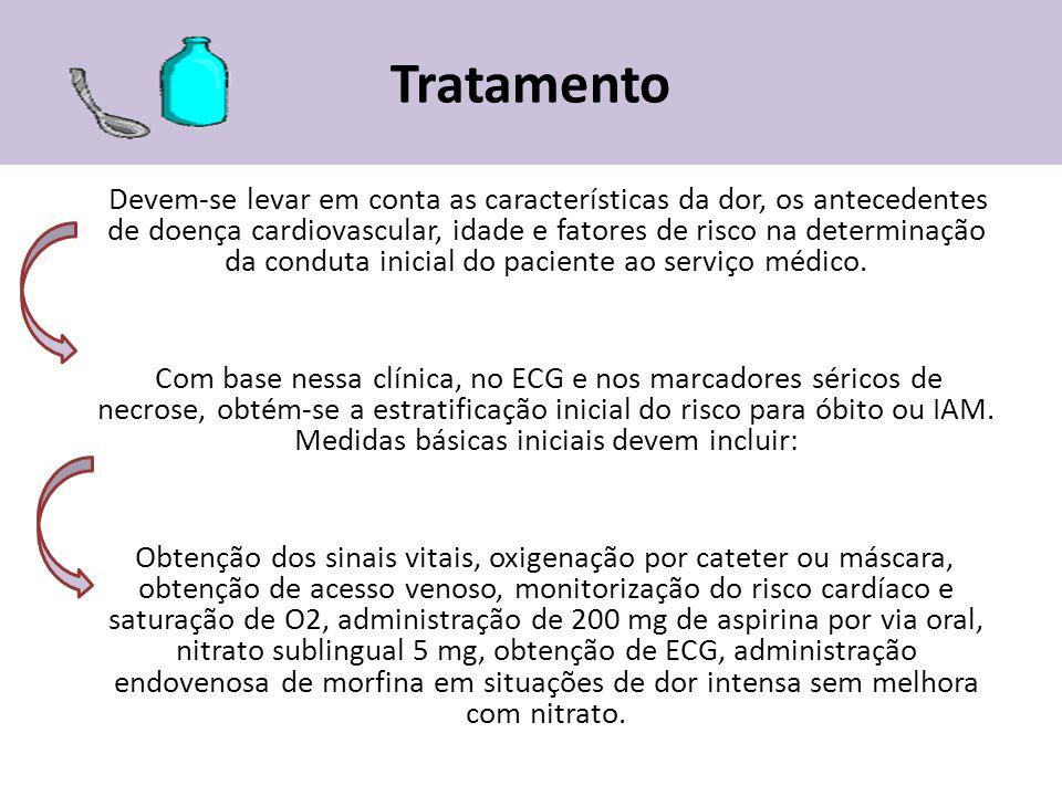 Tratamento Devem-se levar em conta as características da dor, os antecedentes de doença cardiovascular, idade e fatores de risco na determinação da co