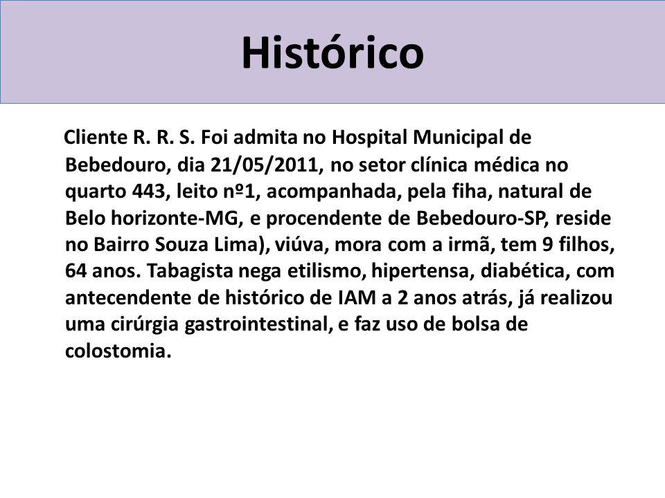 Histórico Cliente R. R. S. Foi admita no Hospital Municipal de Bebedouro, dia 21/05/2011, no setor clínica médica no quarto 443, leito nº1, acompanhad