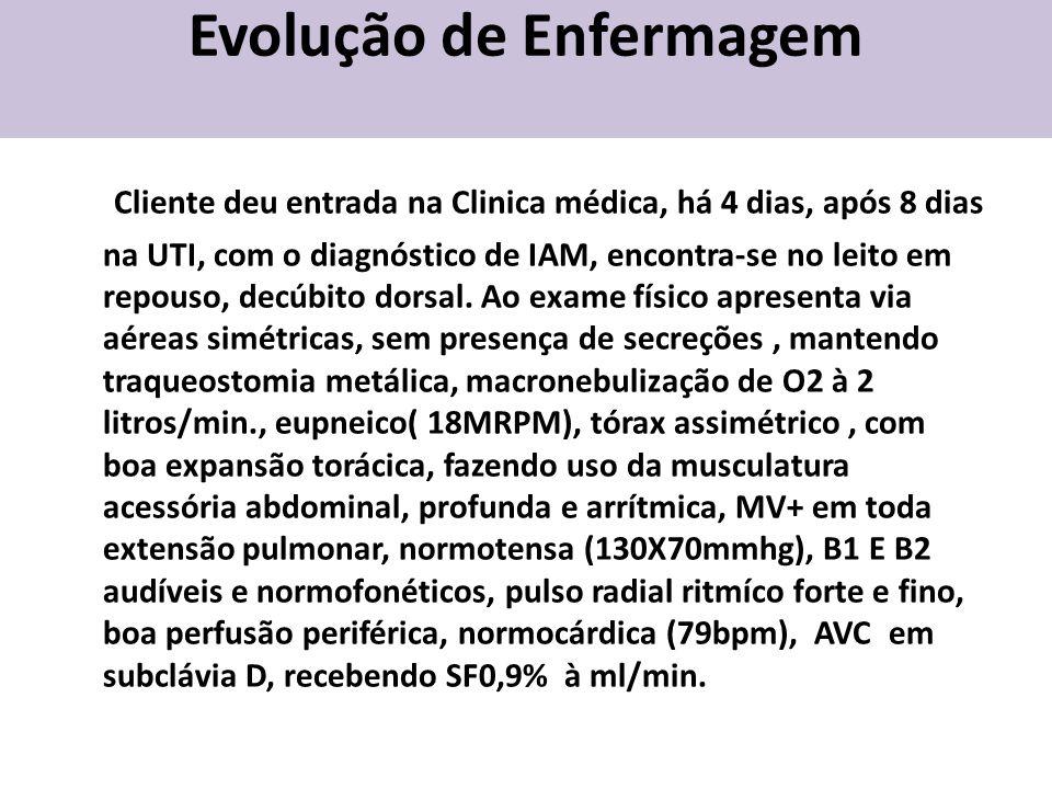 Evolução de Enfermagem Cliente deu entrada na Clinica médica, há 4 dias, após 8 dias na UTI, com o diagnóstico de IAM, encontra-se no leito em repouso